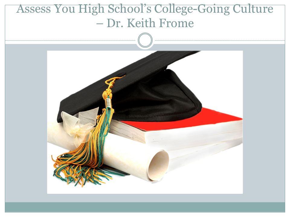 Assess You High School's College-Going Culture – Dr. Keith Frome