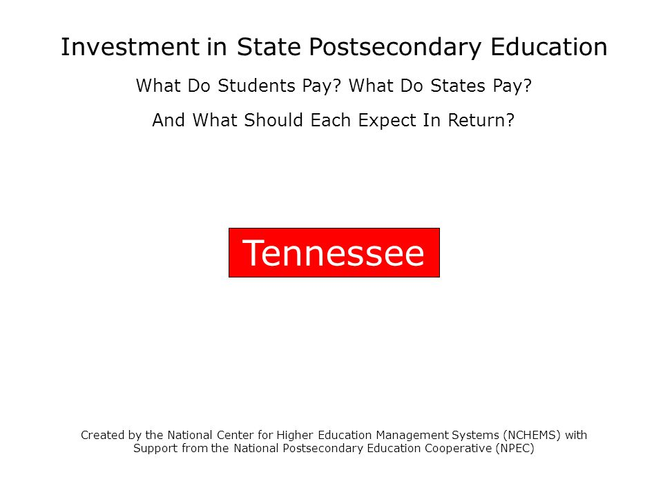Tennessee Created by the National Center for Higher Education Management Systems (NCHEMS) with Support from the National Postsecondary Education Coope