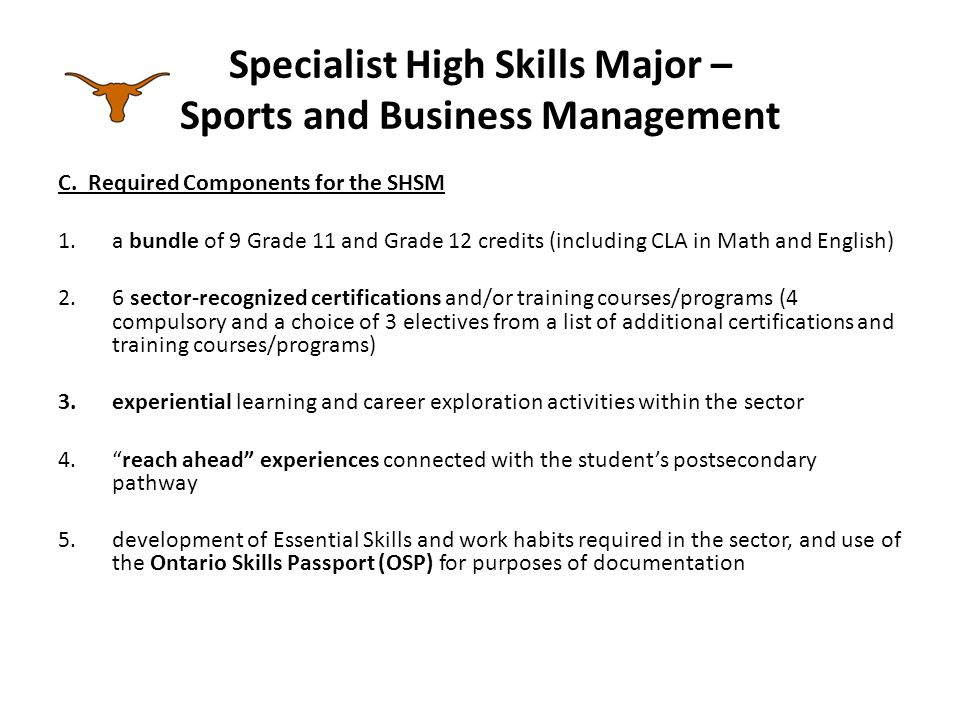 Specialist High Skills Major – Sports and Business Management C.