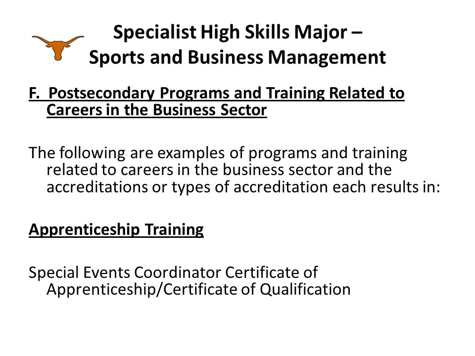 Specialist High Skills Major – Sports and Business Management F.