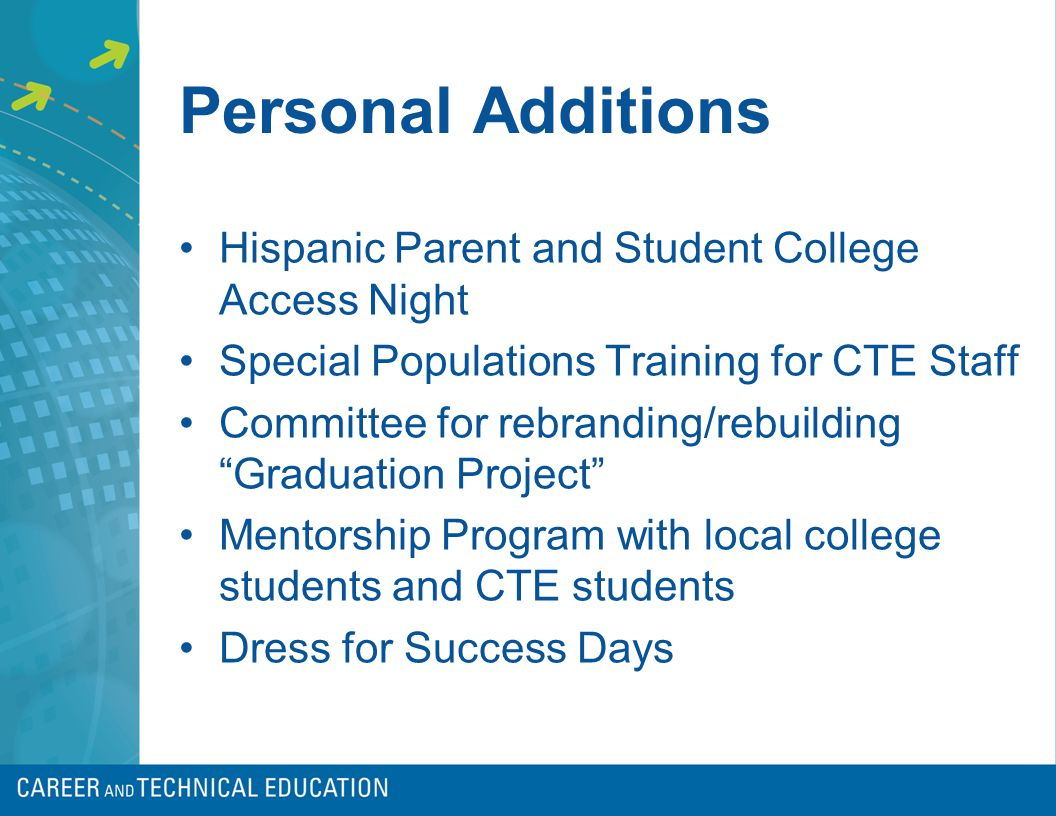 Personal Additions Hispanic Parent and Student College Access Night Special Populations Training for CTE Staff Committee for rebranding/rebuilding Graduation Project Mentorship Program with local college students and CTE students Dress for Success Days