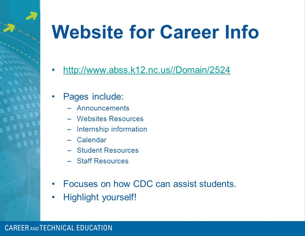 Website for Career Info http://www.abss.k12.nc.us//Domain/2524 Pages include: –Announcements –Websites Resources –Internship information –Calendar –Student Resources –Staff Resources Focuses on how CDC can assist students.