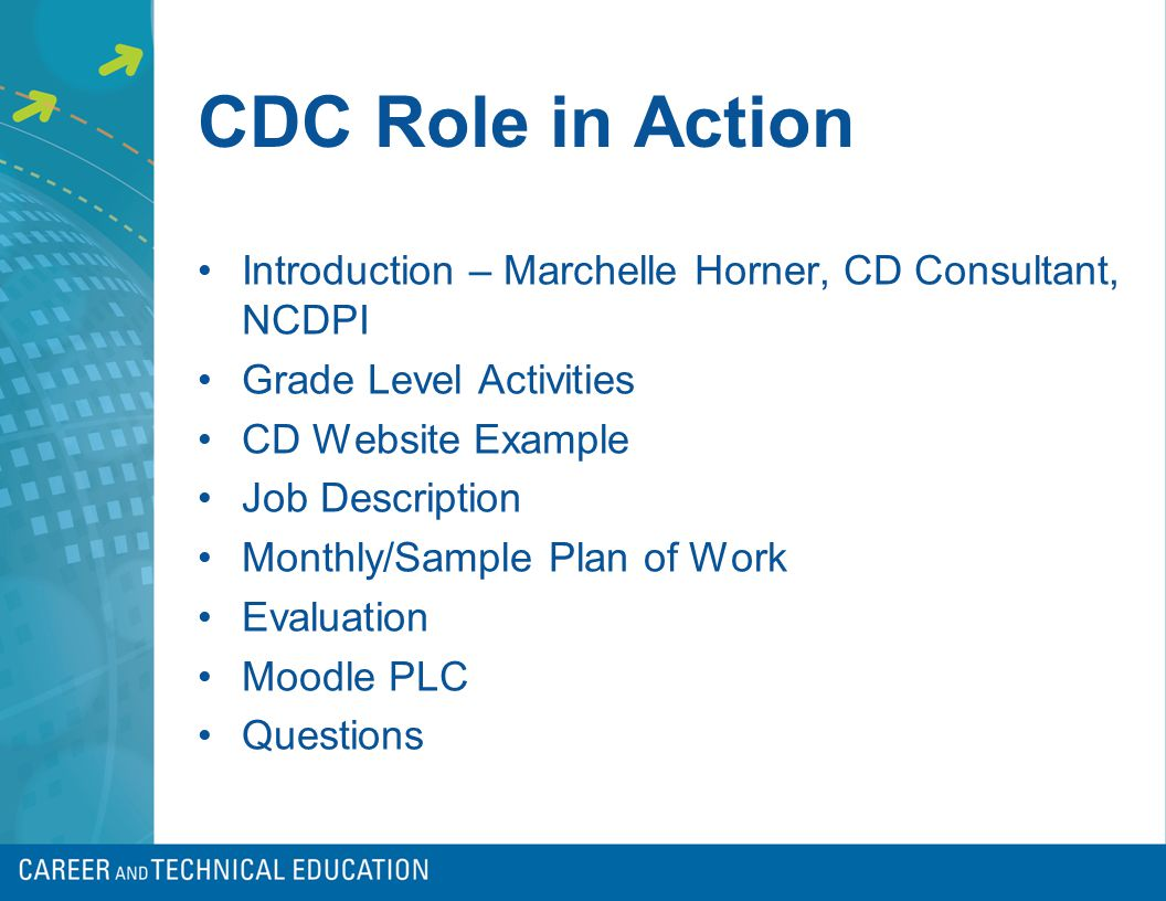 CDC Role in Action Introduction – Marchelle Horner, CD Consultant, NCDPI Grade Level Activities CD Website Example Job Description Monthly/Sample Plan of Work Evaluation Moodle PLC Questions