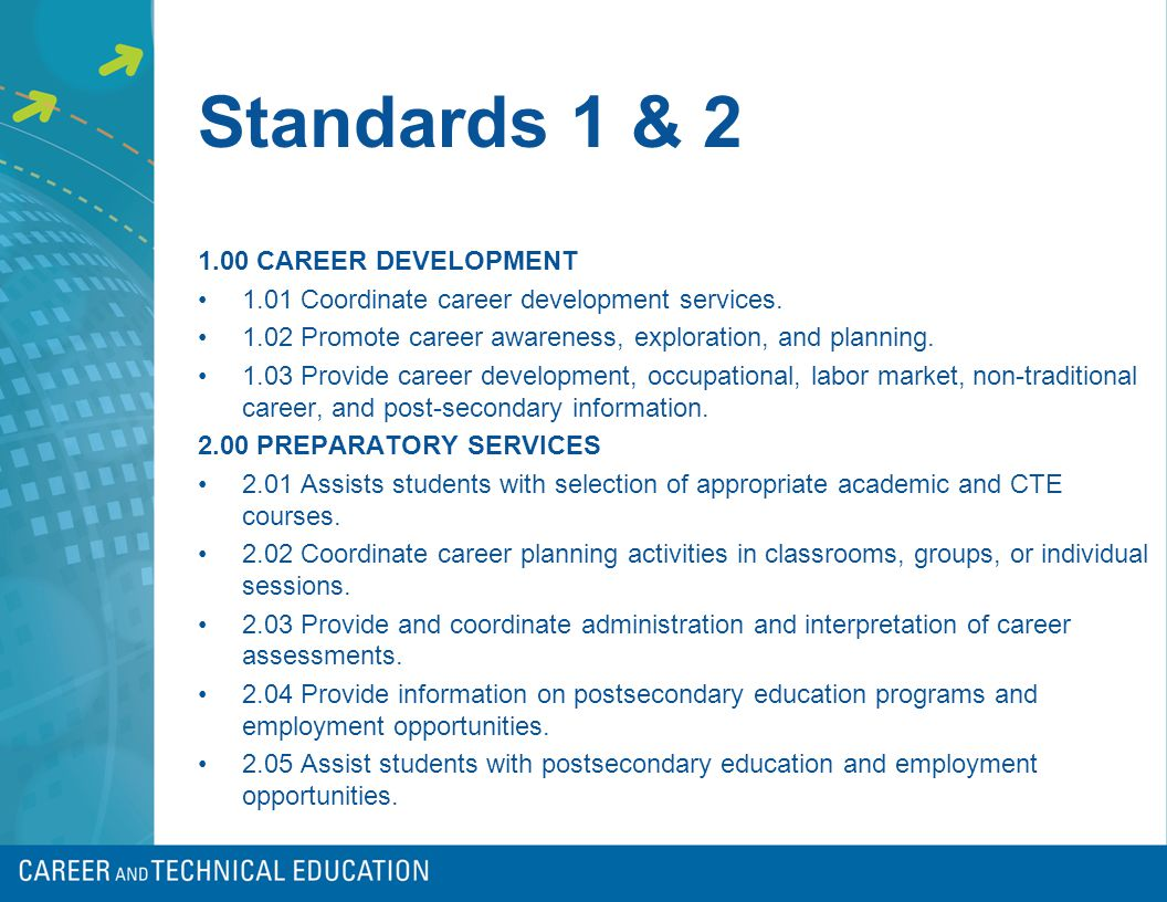 Standards 1 & 2 1.00 CAREER DEVELOPMENT 1.01 Coordinate career development services.