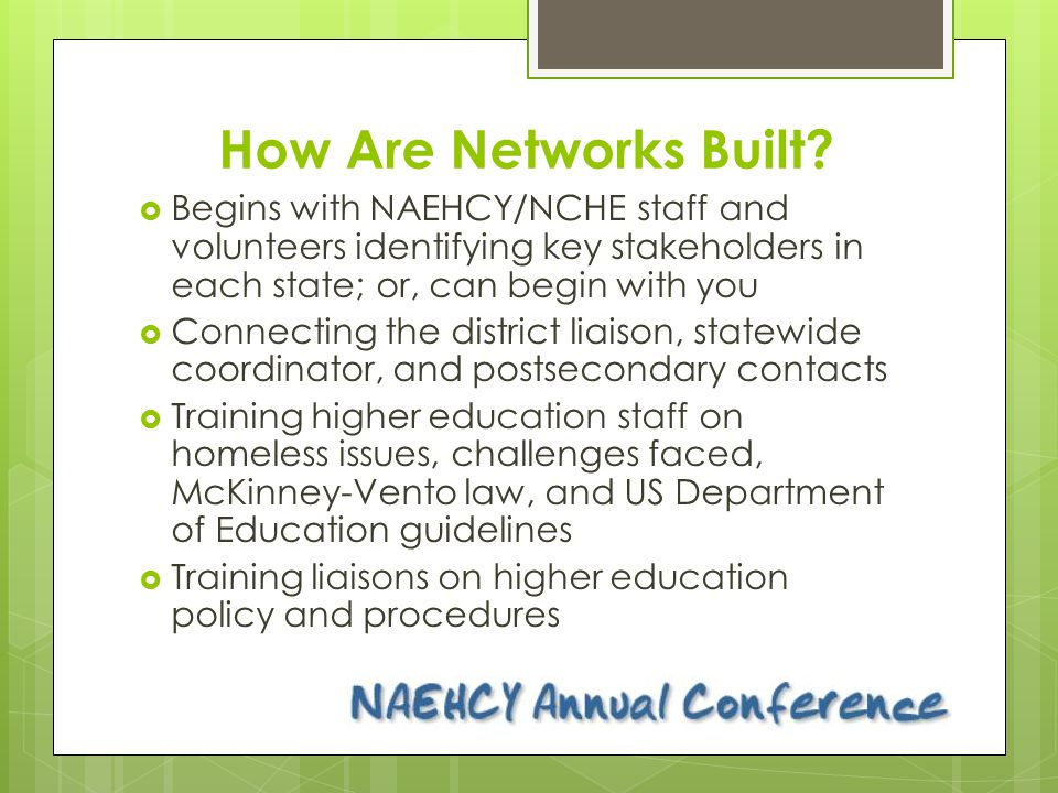 How Are Networks Built?  Begins with NAEHCY/NCHE staff and volunteers identifying key stakeholders in each state; or, can begin with you  Connecting