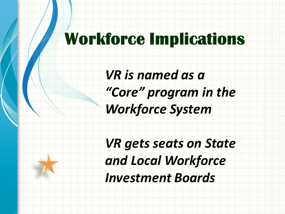 Workforce Implications VR is named as a Core program in the Workforce System VR gets seats on State and Local Workforce Investment Boards