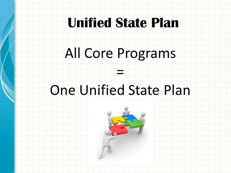 Unified State Plan All Core Programs = One Unified State Plan