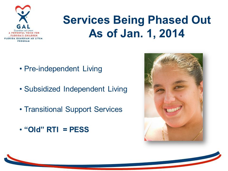 Pre-independent Living Subsidized Independent Living Transitional Support Services Services Being Phased Out As of Jan.