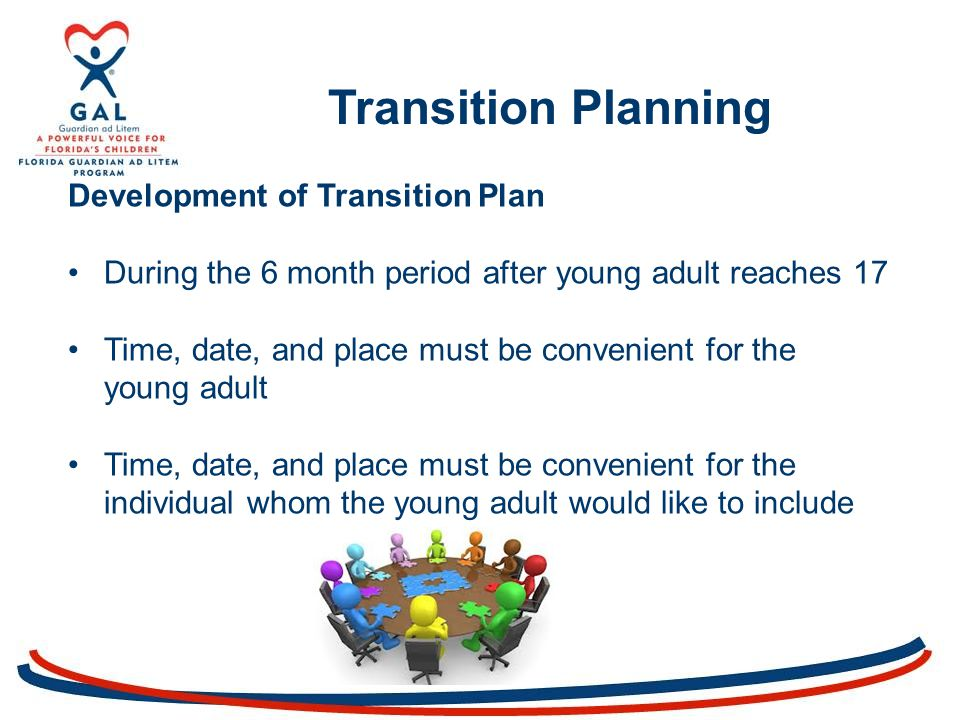Transition Planning Development of Transition Plan During the 6 month period after young adult reaches 17 Time, date, and place must be convenient for the young adult Time, date, and place must be convenient for the individual whom the young adult would like to include