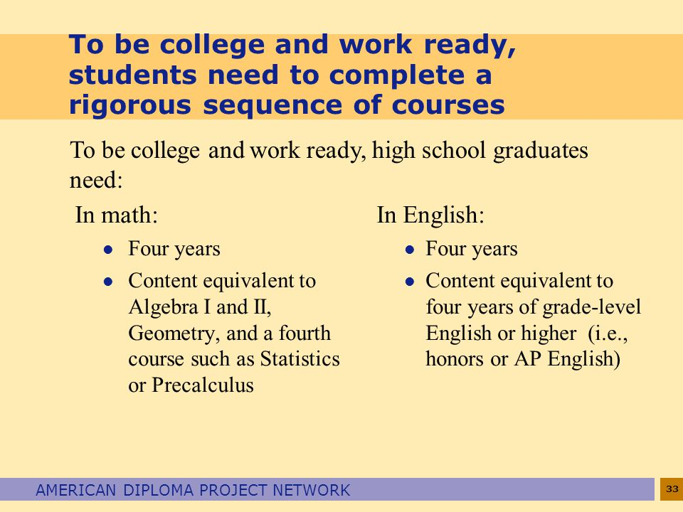 33 AMERICAN DIPLOMA PROJECT NETWORK To be college and work ready, students need to complete a rigorous sequence of courses In math: l Four years l Con