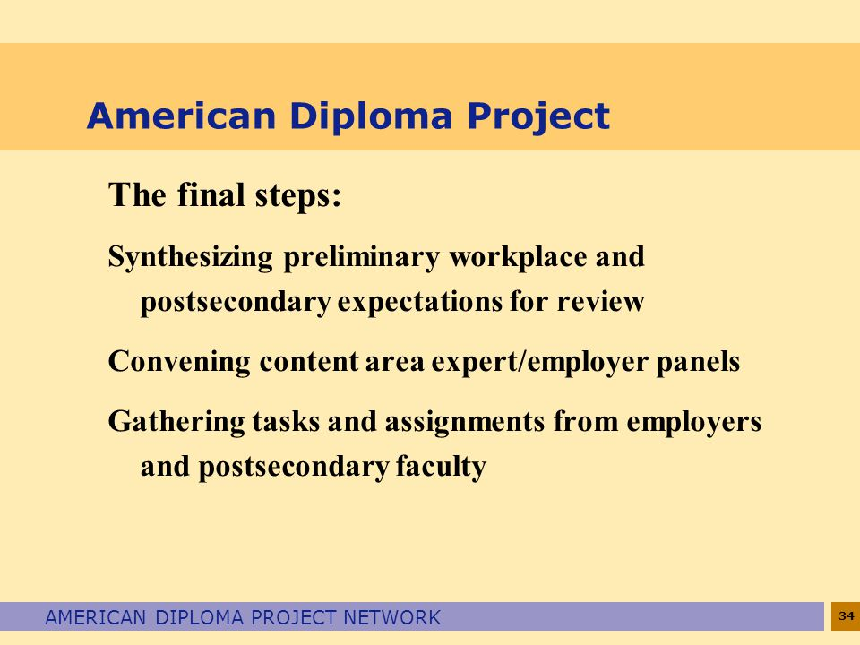 34 AMERICAN DIPLOMA PROJECT NETWORK American Diploma Project The final steps: Synthesizing preliminary workplace and postsecondary expectations for re
