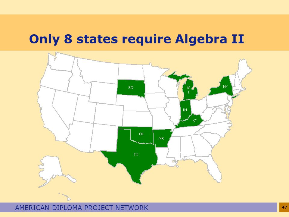 47 AMERICAN DIPLOMA PROJECT NETWORK Only 8 states require Algebra II