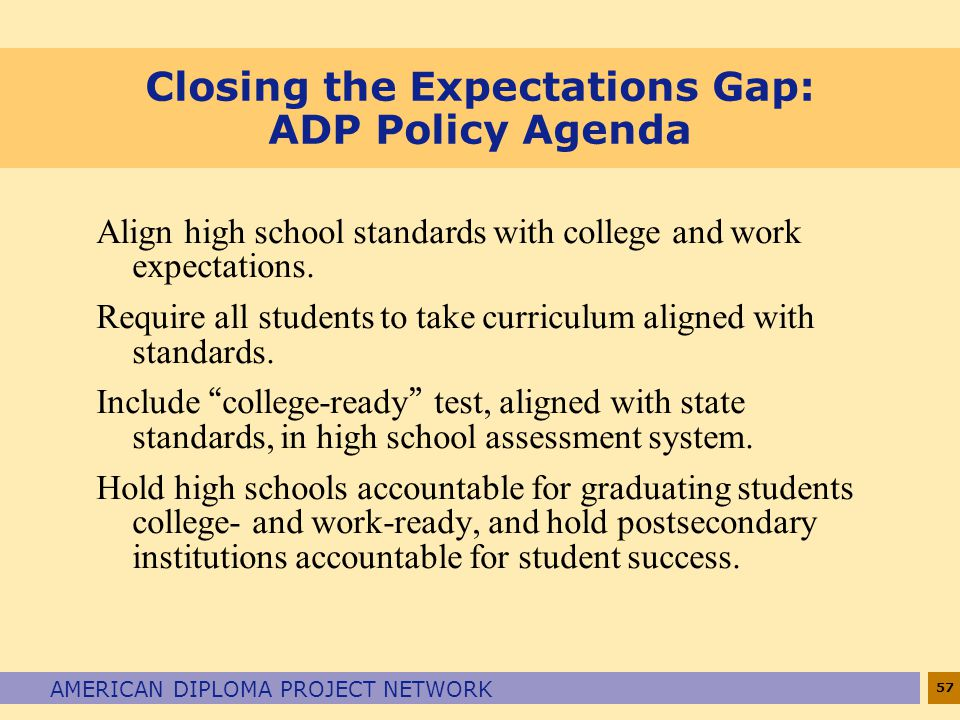 57 AMERICAN DIPLOMA PROJECT NETWORK Closing the Expectations Gap: ADP Policy Agenda Align high school standards with college and work expectations. Re