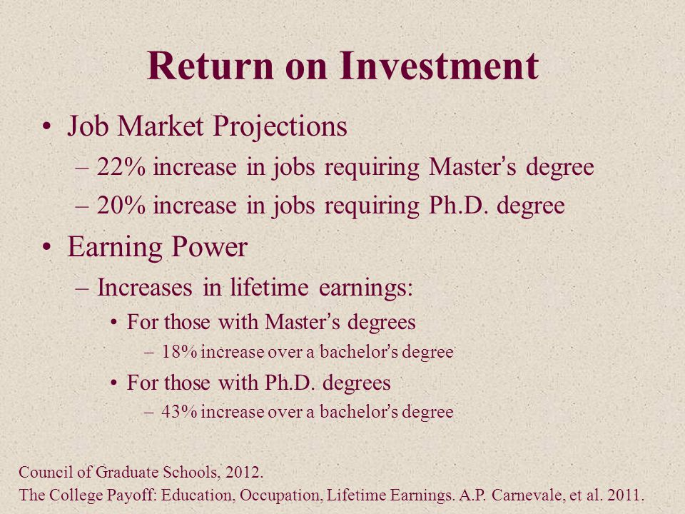 Return on Investment Job Market Projections –22% increase in jobs requiring Master's degree –20% increase in jobs requiring Ph.D.