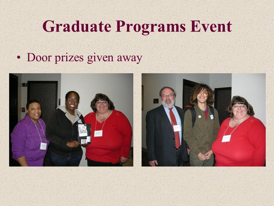 Graduate Programs Event Door prizes given away