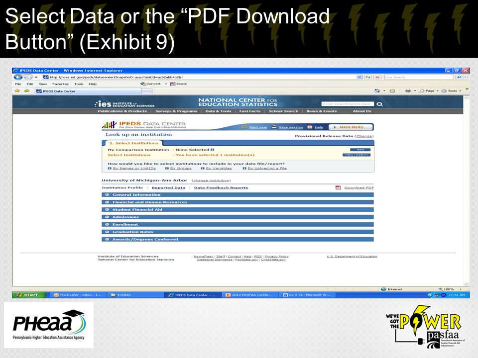 "Select Data or the ""PDF Download Button"" (Exhibit 9)"