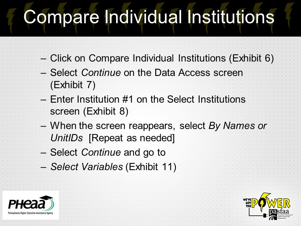 Compare Individual Institutions –Click on Compare Individual Institutions (Exhibit 6) –Select Continue on the Data Access screen (Exhibit 7) –Enter In