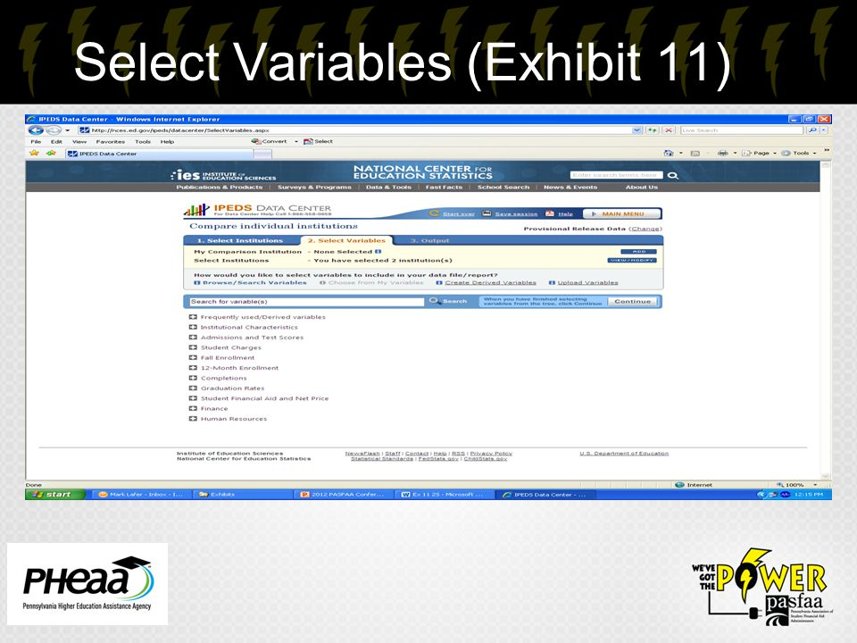 Select Variables (Exhibit 11) 20