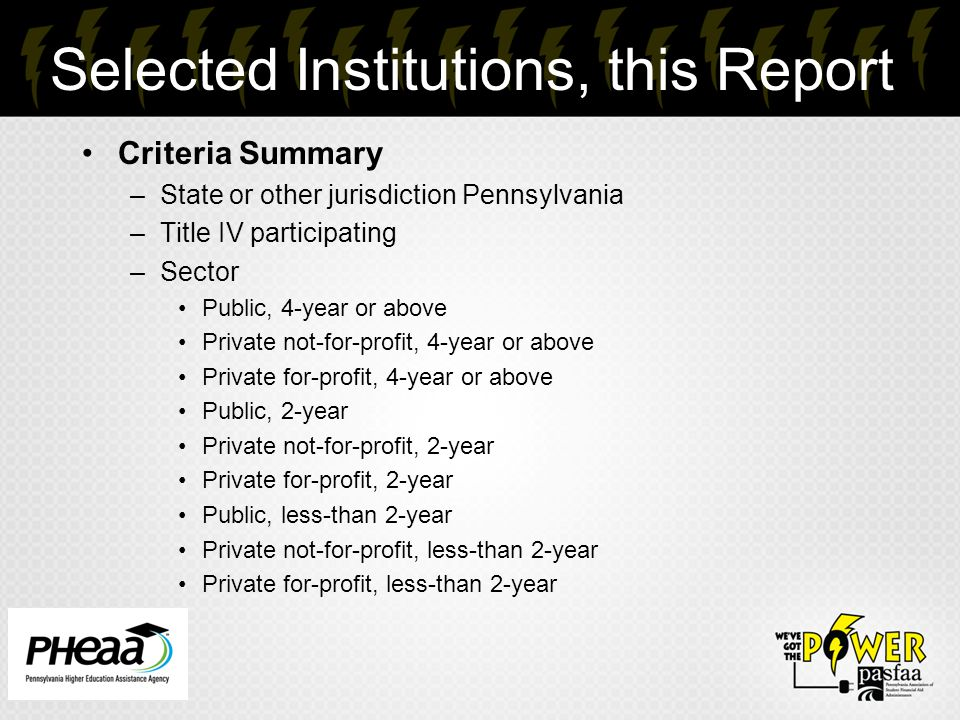 Selected Institutions, this Report Criteria Summary –State or other jurisdiction Pennsylvania –Title IV participating –Sector Public, 4-year or above