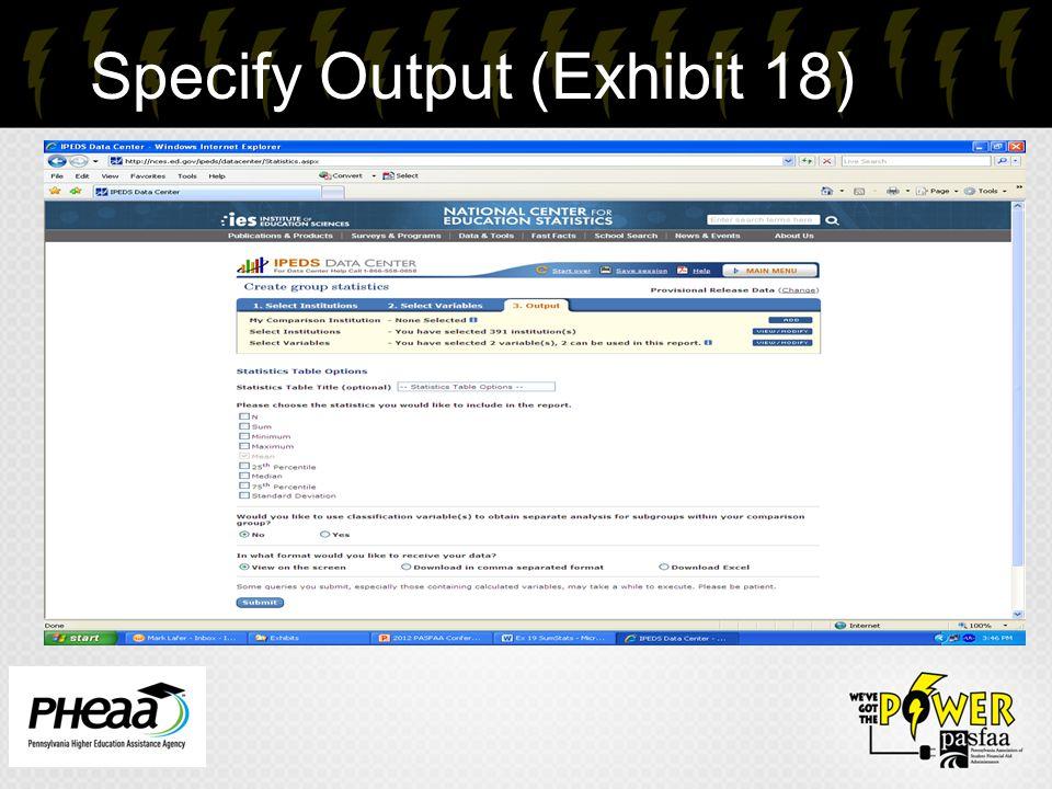 Specify Output (Exhibit 18) 31
