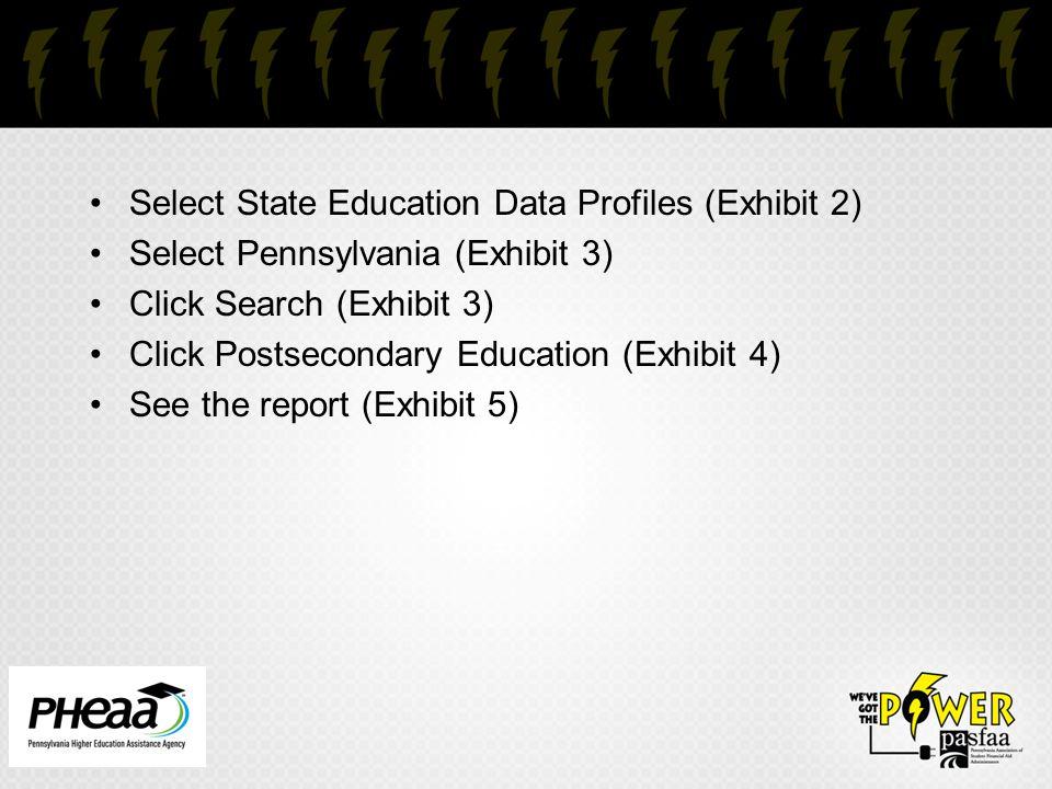 Select State Education Data Profiles (Exhibit 2) Select Pennsylvania (Exhibit 3) Click Search (Exhibit 3) Click Postsecondary Education (Exhibit 4) See the report (Exhibit 5)