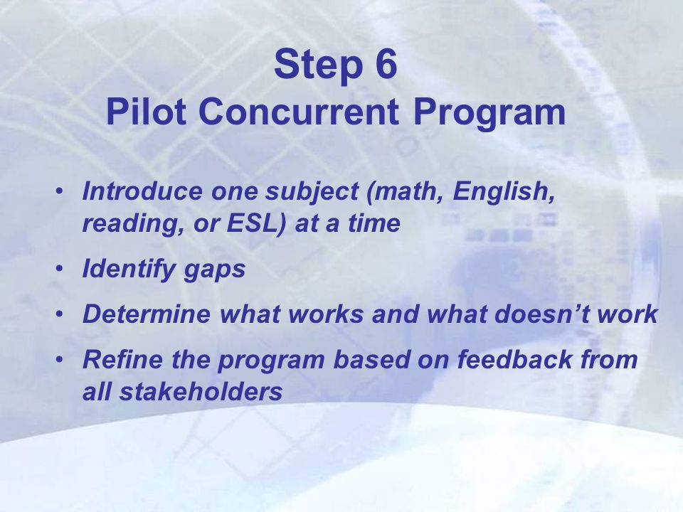 Introduce one subject (math, English, reading, or ESL) at a time Identify gaps Determine what works and what doesn't work Refine the program based on feedback from all stakeholders Step 6 Pilot Concurrent Program
