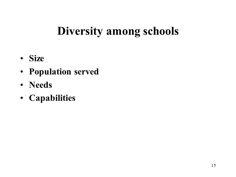 15 Diversity among schools Size Population served Needs Capabilities