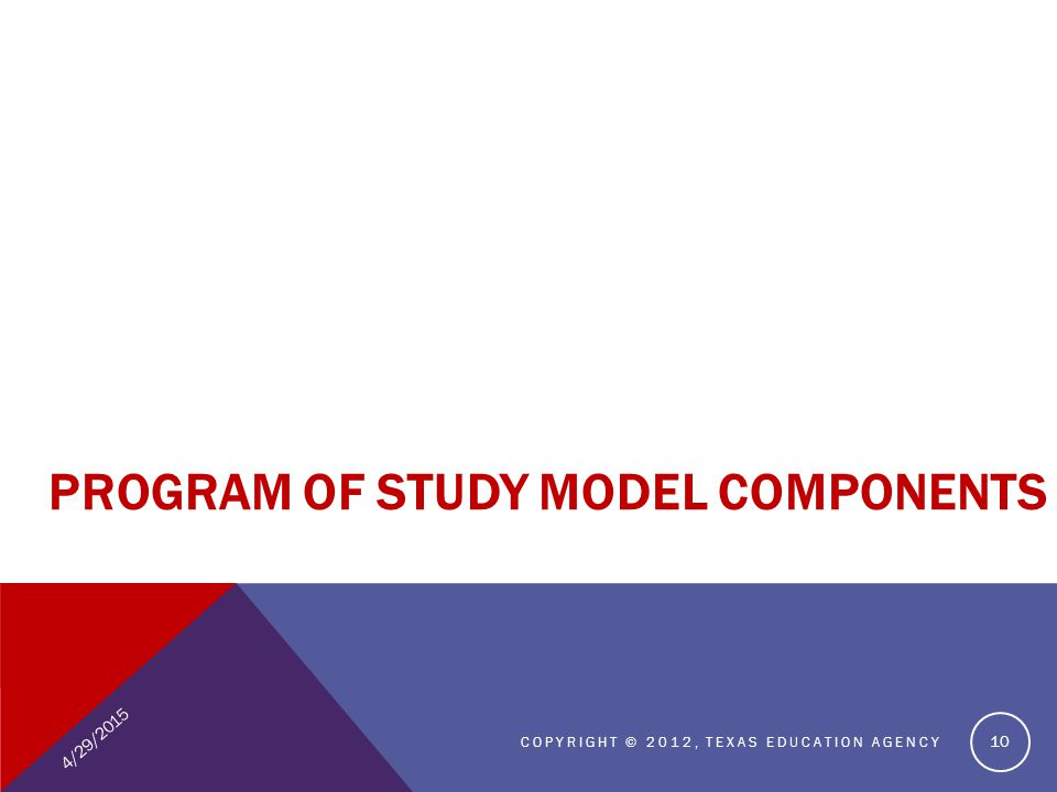 4/29/2015 COPYRIGHT © 2012, TEXAS EDUCATION AGENCY 10 PROGRAM OF STUDY MODEL COMPONENTS