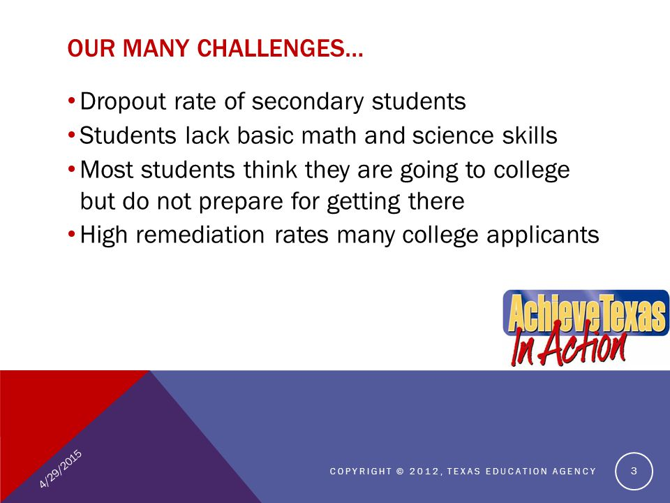 OUR MANY CHALLENGES… Dropout rate of secondary students Students lack basic math and science skills Most students think they are going to college but