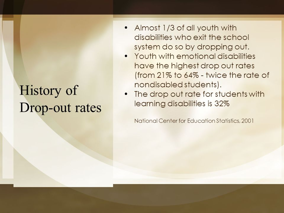 History of Drop-out rates Almost 1/3 of all youth with disabilities who exit the school system do so by dropping out. Youth with emotional disabilitie
