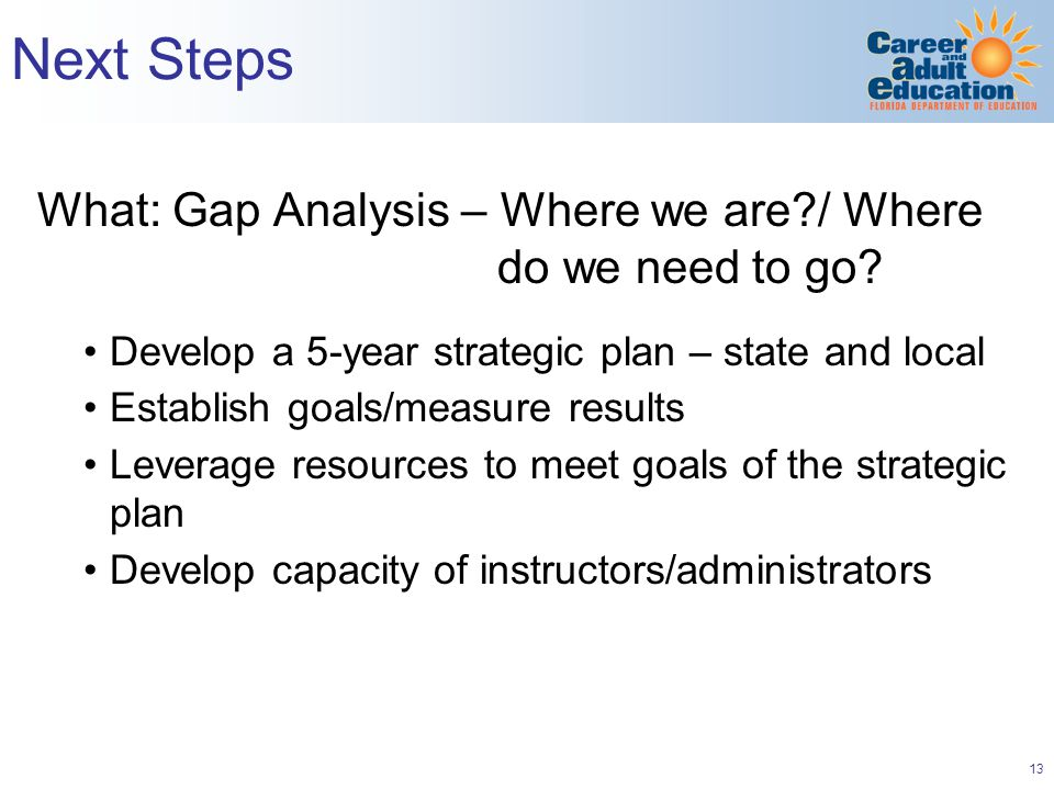 13 Next Steps What: Gap Analysis – Where we are?/ Where do we need to go.