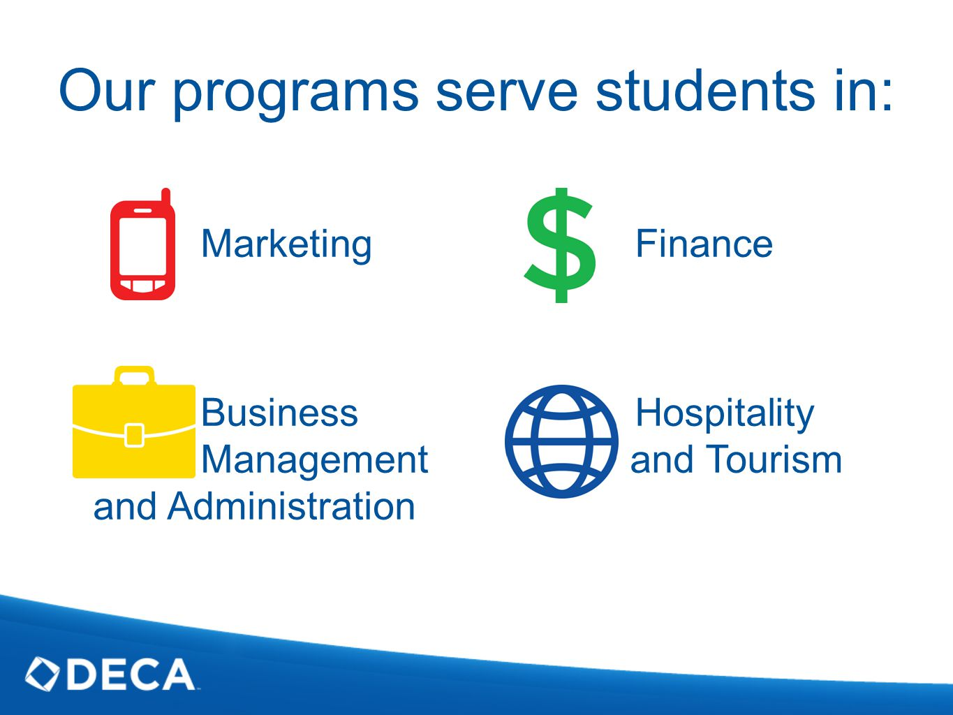 Finance Hospitality and Tourism Our programs serve students in: Marketing Business Management and Administration