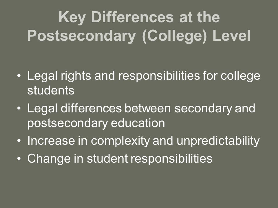 Federal Laws that Apply to Postsecondary Education Americans with Disabilities Act Section 504 of the Rehabilitation Act