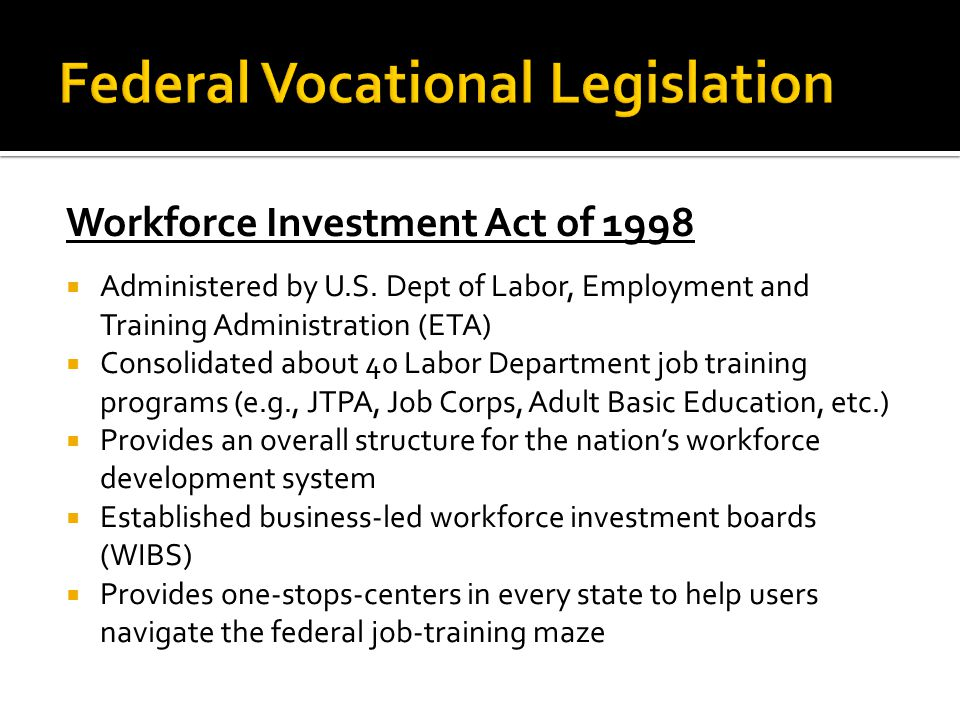 The National Apprenticeship Act of 1937  Administered by U.S.