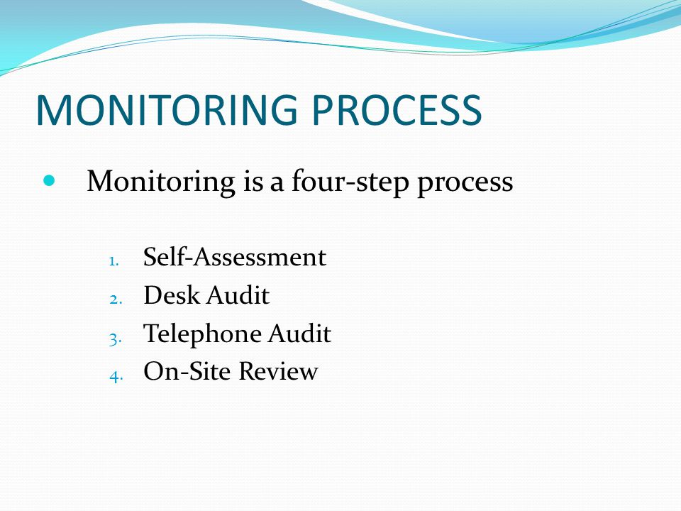 MONITORING PROCESS Monitoring is a four-step process 1.