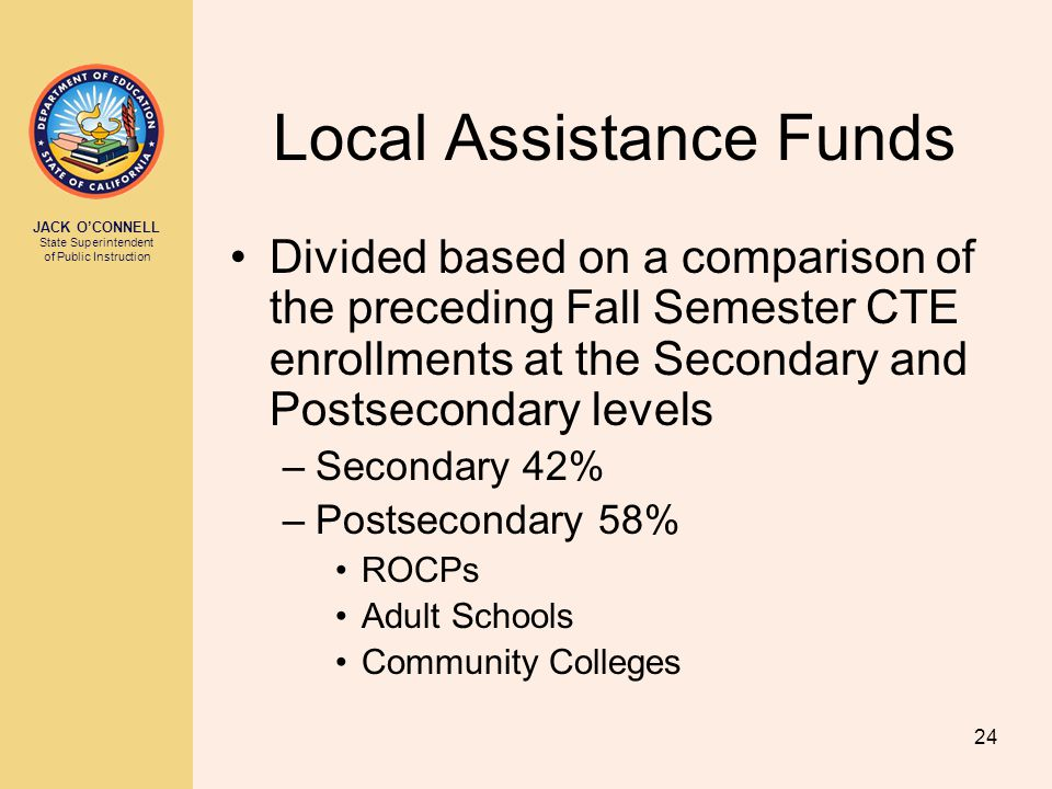 JACK O'CONNELL State Superintendent of Public Instruction 24 Local Assistance Funds Divided based on a comparison of the preceding Fall Semester CTE enrollments at the Secondary and Postsecondary levels –Secondary 42% –Postsecondary 58% ROCPs Adult Schools Community Colleges