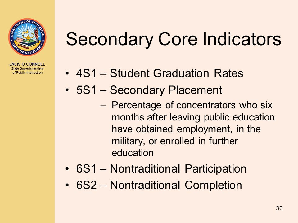 JACK O'CONNELL State Superintendent of Public Instruction 36 Secondary Core Indicators 4S1 – Student Graduation Rates 5S1 – Secondary Placement –Perce