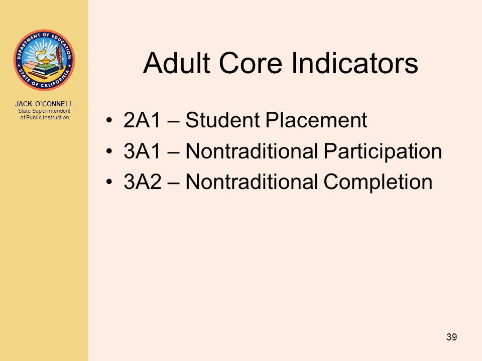 JACK O'CONNELL State Superintendent of Public Instruction 39 Adult Core Indicators 2A1 – Student Placement 3A1 – Nontraditional Participation 3A2 – No