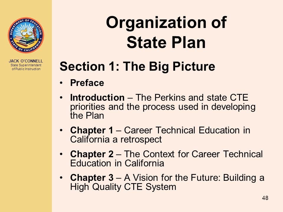 JACK O'CONNELL State Superintendent of Public Instruction 48 Organization of State Plan Section 1: The Big Picture Preface Introduction – The Perkins and state CTE priorities and the process used in developing the Plan Chapter 1 – Career Technical Education in California a retrospect Chapter 2 – The Context for Career Technical Education in California Chapter 3 – A Vision for the Future: Building a High Quality CTE System