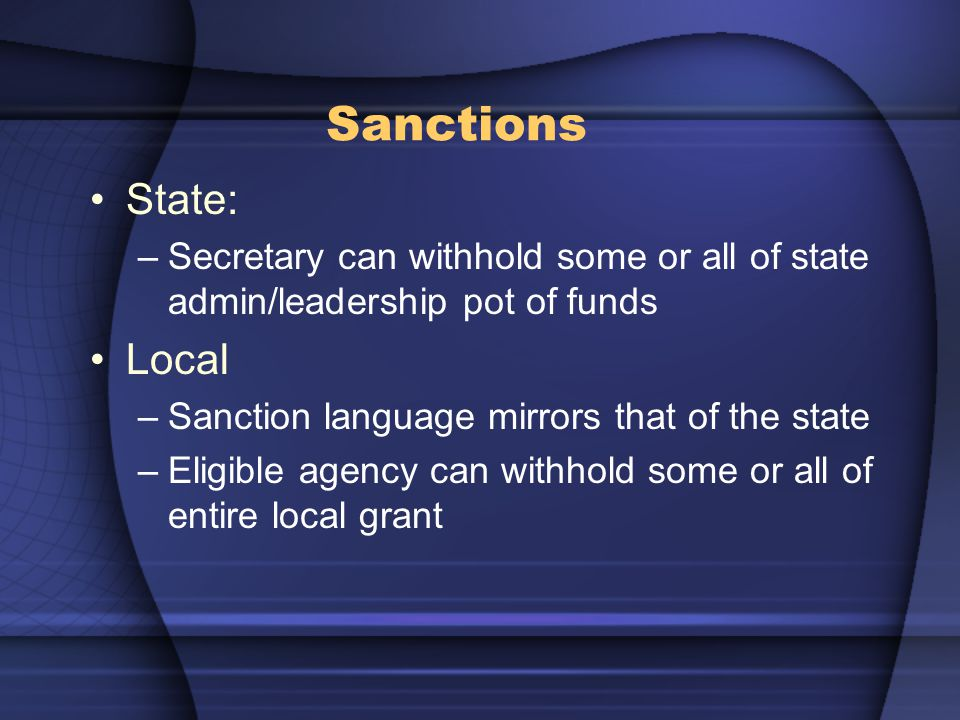 Sanctions State: –Secretary can withhold some or all of state admin/leadership pot of funds Local –Sanction language mirrors that of the state –Eligible agency can withhold some or all of entire local grant