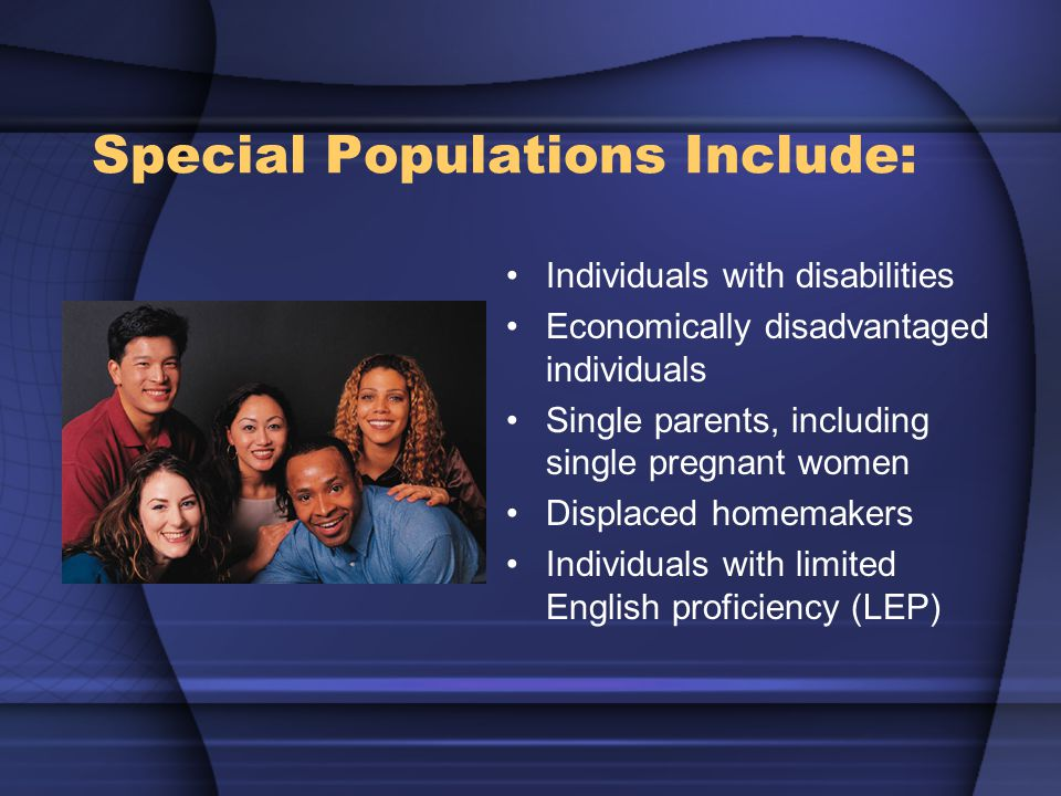 Special Populations Include: Individuals with disabilities Economically disadvantaged individuals Single parents, including single pregnant women Displaced homemakers Individuals with limited English proficiency (LEP)