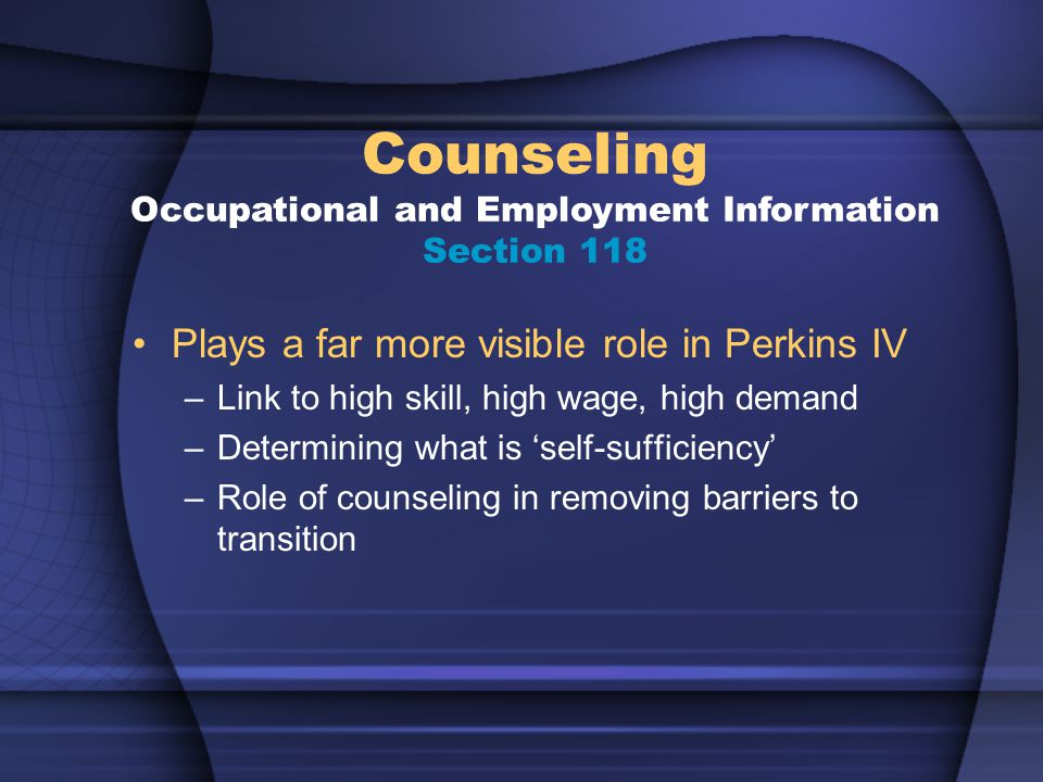 Plays a far more visible role in Perkins IV –Link to high skill, high wage, high demand –Determining what is 'self-sufficiency' –Role of counseling in