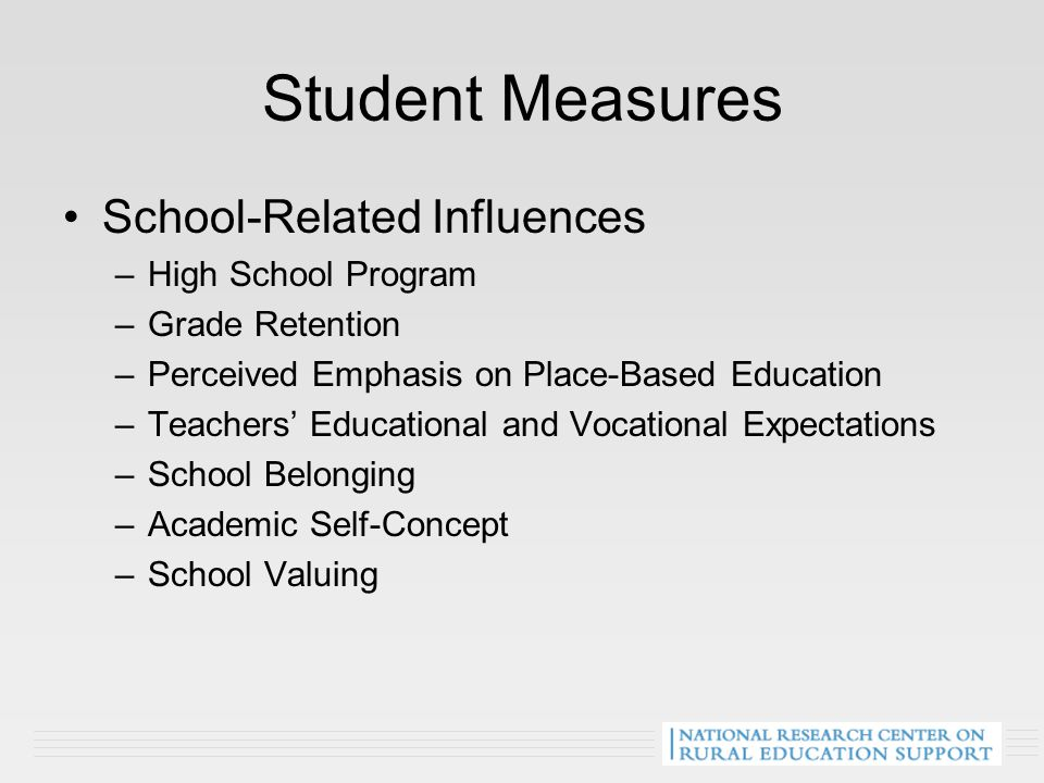 Student Measures School-Related Influences –High School Program –Grade Retention –Perceived Emphasis on Place-Based Education –Teachers' Educational and Vocational Expectations –School Belonging –Academic Self-Concept –School Valuing
