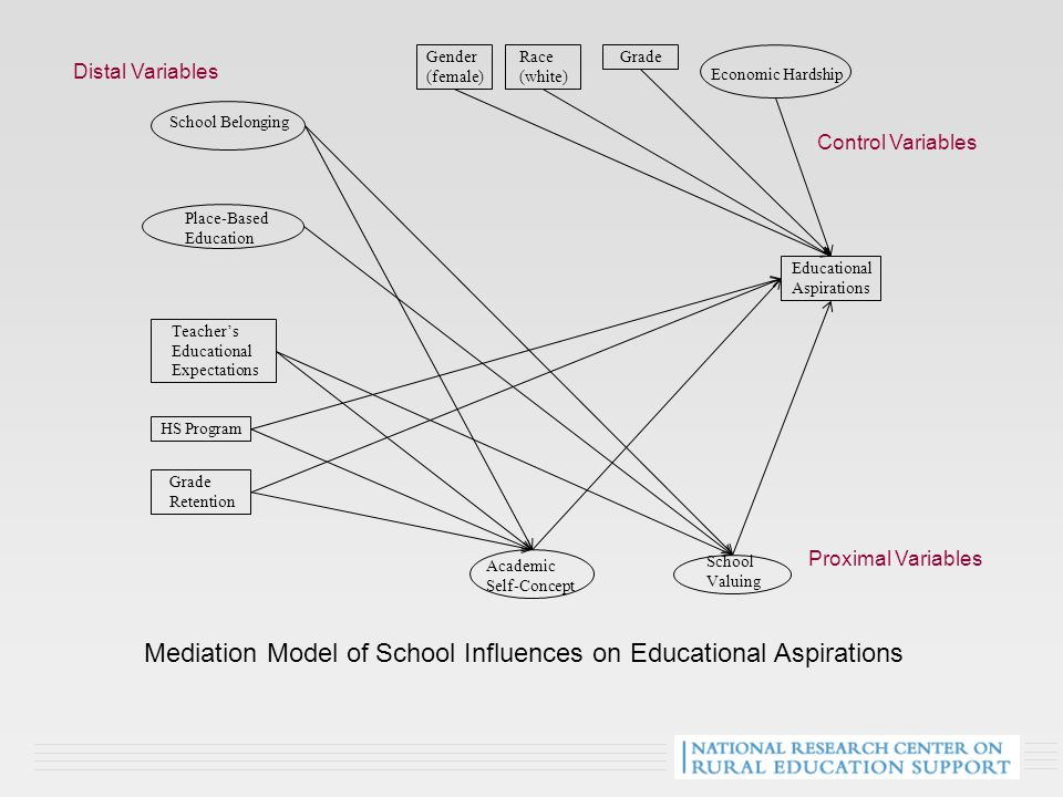 School Belonging School Valuing Educational Aspirations Academic Self-Concept Place-Based Education HS Program Grade Retention Teacher's Educational Expectations Gender (female) Race (white) Grade Mediation Model of School Influences on Educational Aspirations Economic Hardship Proximal Variables Control Variables Distal Variables