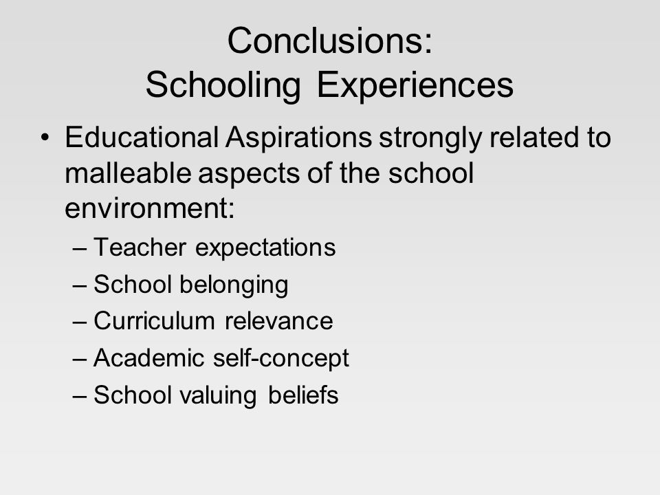 Conclusions: Schooling Experiences Educational Aspirations strongly related to malleable aspects of the school environment: –Teacher expectations –School belonging –Curriculum relevance –Academic self-concept –School valuing beliefs