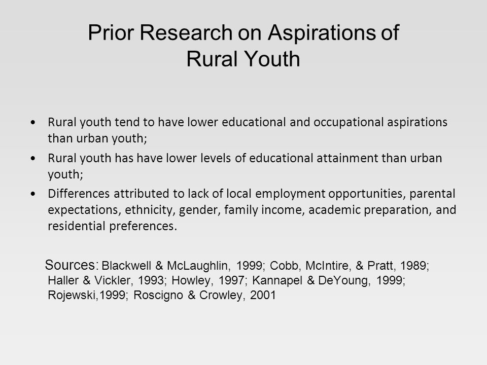 Prior Research on Aspirations of Rural Youth Rural youth tend to have lower educational and occupational aspirations than urban youth; Rural youth has have lower levels of educational attainment than urban youth; Differences attributed to lack of local employment opportunities, parental expectations, ethnicity, gender, family income, academic preparation, and residential preferences.