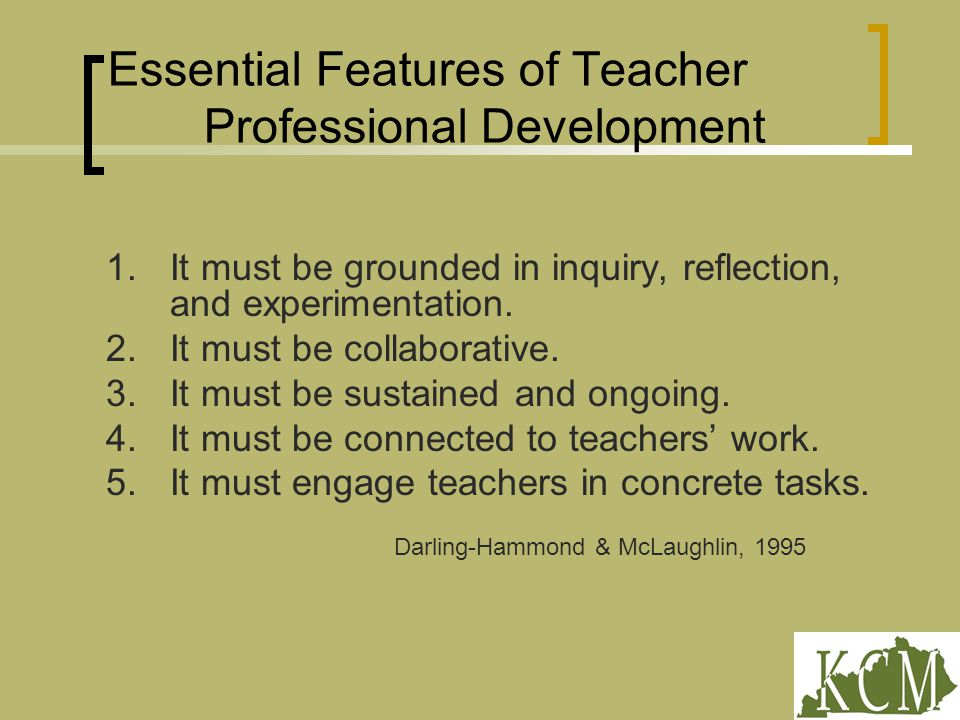 Essential Features of Teacher Professional Development 1.It must be grounded in inquiry, reflection, and experimentation.