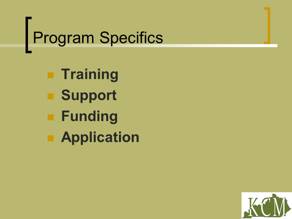 Program Specifics Training Support Funding Application