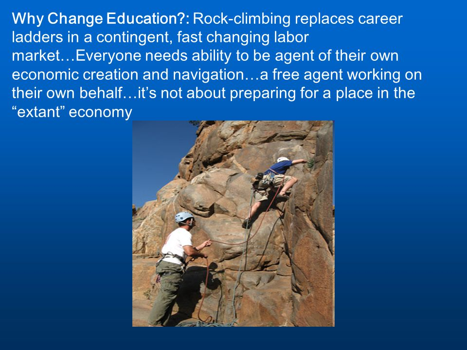 Why Change Education?: Rock-climbing replaces career ladders in a contingent, fast changing labor market…Everyone needs ability to be agent of their o