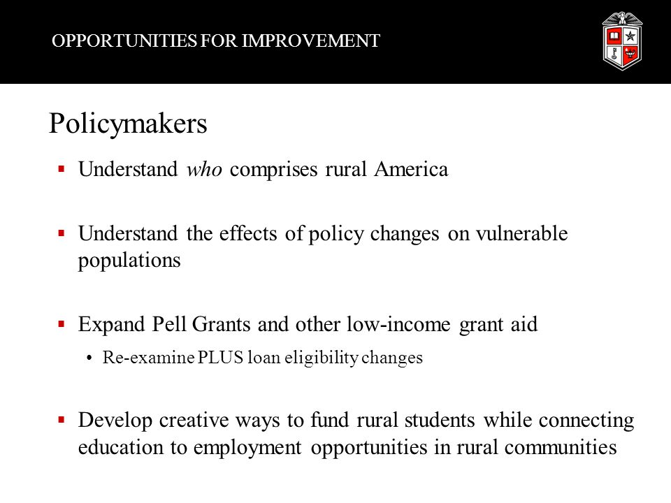 OPPORTUNITIES FOR IMPROVEMENT Policymakers  Understand who comprises rural America  Understand the effects of policy changes on vulnerable populations  Expand Pell Grants and other low-income grant aid Re-examine PLUS loan eligibility changes  Develop creative ways to fund rural students while connecting education to employment opportunities in rural communities